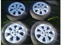 "4 stud 16"" alloy wheel with tyres"