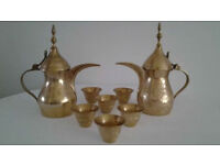 Vintage Brass Dallah Coffee Pots (2) And Brass Cups (6).