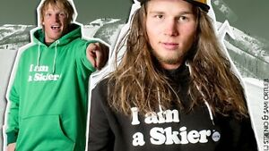 """Brand New Line Skies """"I am a Skier"""" Pullover, Size L,Snot Yellow London Ontario image 1"""