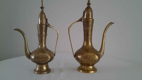 (2) Vintage Solid Brass Perfume Oil,Tea,Water Pourers.