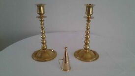 Pair Of Vintage Solid Brass Bobbin Turned Candlestick Holders.