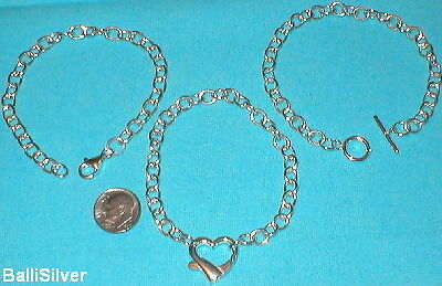 3 pieces Sterling Silver 925 Thick Heavy Oval Rolo Cable Chain BRACELETS Lot