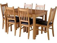 Extendable Oak Dining Table and Six Chairs - RRP £239.99 - Must go before 27th Feb