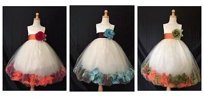 Ivory Flower Girl Bridesmaid Wedding Fall 32 Colors Mixed Elegant Girl Dress #24 - Autumn Wedding Colors