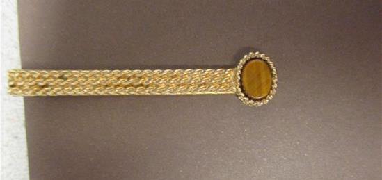 Tie Bar-Vintage Tiger Eye-Gold Tone-Trademark    #109M