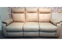 Designer Cream leather 3 seater electric recliner sofa + 2 chairs (630) £899