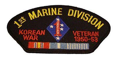 USMC FIRST 1ST MARINE DIVISION MARDIV KOREA VETERAN PATCH W/ CAMPAIGN RIBBONS ()