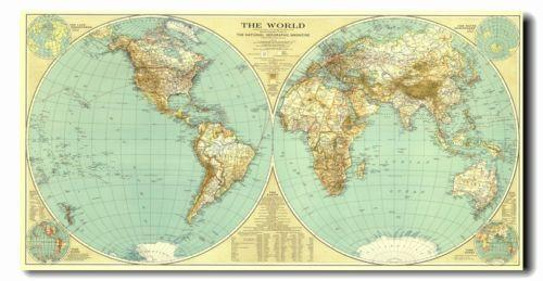 Large Vintage World Map Ebay