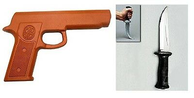 Rubber Gun and Boot Knife Set - Martial Arts Training Defense, Police Practice