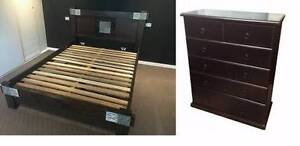 solid wooden queen bed frame + tallboy Campsie Canterbury Area Preview