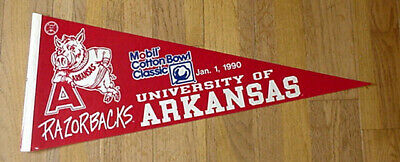 Arkansas Razorback Game (1990 ARKANSAS RAZORBACKS COTTON BOWL GAME DAY PENNANT UNSOLD STOCK DISCOUNTED)