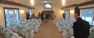 White Chair Covers with Teal Sash