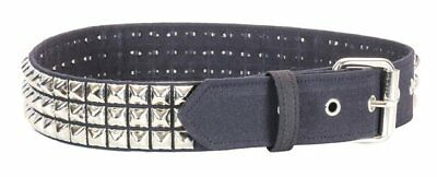 3 ROW CHROME PYRAMID STUDDED BELT CANVAS BLK made in -