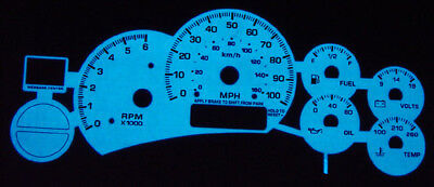 01 White Face Gauge - 1999-2002 Chevy Suburban / Tahoe White Face Glow Gauge Face Overlay 00 01