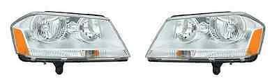 08 09 10 11 12 13 Dodge Avenger Headlight Chrome background Pair Set Both