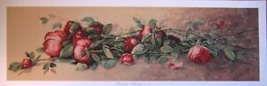 art print~AMERICAN BEAUTIES~J.Califano roses vintage repr yardlong flowers 36x12