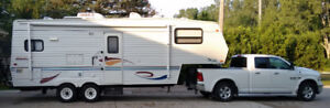 RV 5th wheel & pickup truck