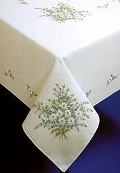 Stamp Embroidery FORGET ME NOT  TABLECLOTH  50