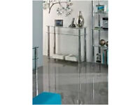 New Clear Glass Console Table with Chrome Steel, New in Box, Was £85, Sell £38