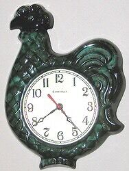 WANTED BLUE MOUNTAIN POTTERY ROOSTER CLOCK