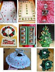 VINTAGE CHRISTMAS ITEMS ~ TREE STAND ,SKIRT ~ ORNAMENTS ~ TABLECLOTHS ~ SANTA BELL ~ PICKUP OR SHIPPED OK ~ OAKVILLE