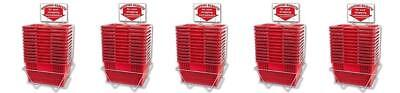 New 60 Standard Shopping Baskets - Chrome Handles - Metal Stand And Sign - Red