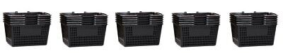 Shopping Basket Durable Black Plastic With Metal Handles Set Of 25