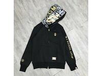 Bape hoodie black and gold WGM