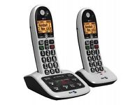 BT BIG BUTTON CORDLESS PHONES X2 AS NEW FULLY WORKING £10