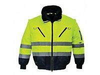 Work clothes, protective clothes, hi Vis clothes, jackets, trousers, belt pouches and tool belts.