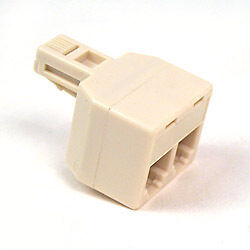 NEW-Belkin-F8V106-2-Way-Duplex-Phone-Jack-Adapter-Ivory-2-into-1-Jack-splitter