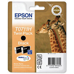 Original Epson Twin Pack Black Inkjet Cartridge T0711H
