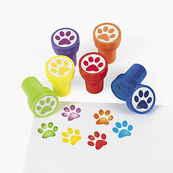 6 Paw Print Self Ink Stampers Stamps Kids Birthday Party Favors Gifts Treats