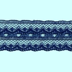 CRAFT-SEWING-LACE 6mtrs x 24mm Navy Blue Double Sided Eyelet Lace