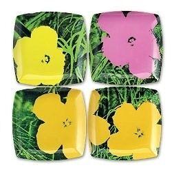 2 sets of 4 1960's Andy Warhol Flower melamine plates