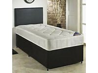 Divan Bed, Double, Semi Ortho, Spring Mattress. Black Fabric. Full bed, Leather Headboard.