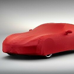 2014-16 Chevrolet Corvette C7 CROSSED FLAG LOGO Indoor Dust Car Cover RED