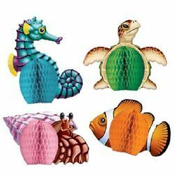 4pk Hawaiian Luau Tropical Beach Party Mini Under the Sea Creatures Decorations