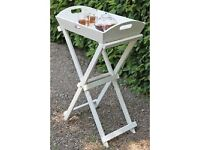 Brand new grey wooden butlers tray table - garden side table