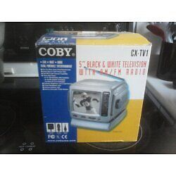 """Coby 5"""" Black & White Television with AM / FM Radio"""