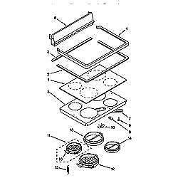 KERH507 YAL 1 2 3 4 5  KERH507AW0  KITCHENAID / Whirlpool Stove Parts: Ceramic Glass Top surface burner element ,9750639