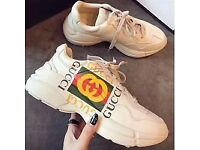 gucci trainers vulcanised beige size 5 uk to 11 uk