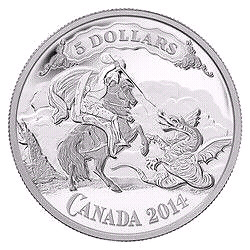 "2014 ""Saint George Slaying the Dragon"" SILVER COIN-CANADA-MINT!!"