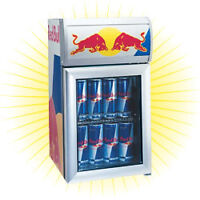 Red Bull Counter Top Refrigerator and Island Oasis Machine