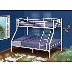 Bunk bed with double bed on bottom, mattresses included, white metal, hardly used