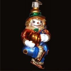 Old World Christmas Scarecrow Glass Ornament, New In Box