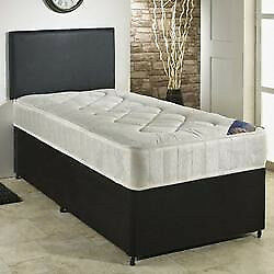 Divan Bed, Double, Semi Ortho, Spring Mattress. Black Fabric, Leather Headboard.