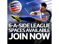 **SPACES AVALIABLE -HUDDERSFIELD 6 ASIDE LEAGUE** ** ATTENTION – £1 ENTRY- JOIN NOW!! **