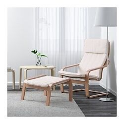 Ikea oak Poang (pair) armchairs and footstools (sold as pair).