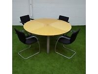 Circular Veneer Table with Chairs